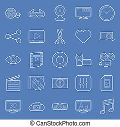Video thin lines icons set vector graphic illustration...
