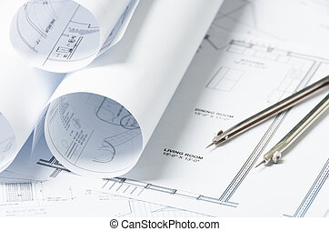 Blue prints - Drawing and architectural instruments on the...