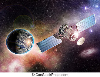orbiting the earth - satellite orbiting the earth in the...