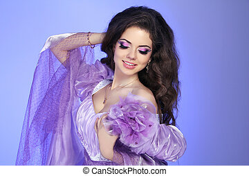 Beautuful brunette smiling girl with beauty makeup, long...