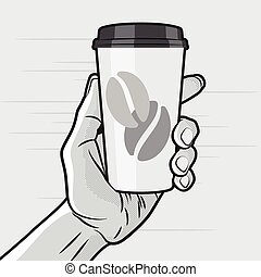 Coffe Cup in Hand - Retro Style - Paper Coffee Cup in Hand