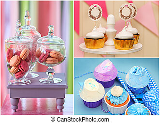 Sweet holiday buffet collage