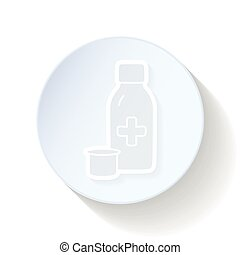 Therapeutic syrup thin lines icon vector graphic...