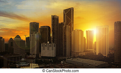 metropolitan sunset - beautiful sunset over downtown Kuala...