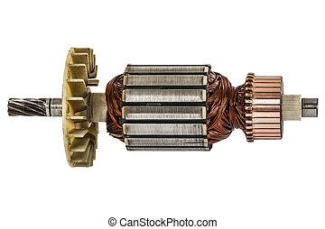 rotor, de, eléctrico, motor, primer plano, aislado,...