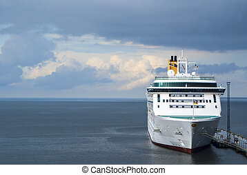 White ferryboat in sea port in Baltic sea