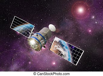 exploring space - satellite orbiting the earth in the outer...