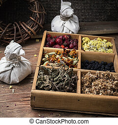 medicinal herb - wooden box with herbs in the rural...