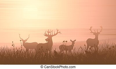 Wild animals on meadow - Vector horizontal illustration of...