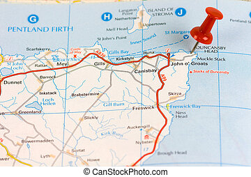 Street Map of John O Groats with red pin