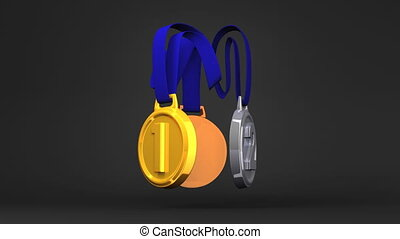3Medals On Black Background - Rotating 3Medals On Black...