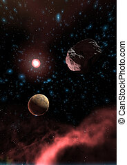Space Scene - Digital 3D Illustration of a Space Scene, no...