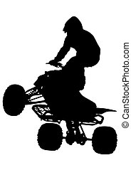 ATV race - Silhouettes athletes ATV during races on white...