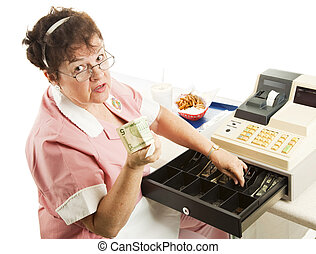 Cashier - Heres Your Change - Cashier in a restaurant...