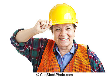 Female Construction Worker Closeup - Friendly female...