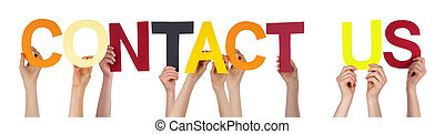 Hands Holding Colorful Straight Word Contact Us