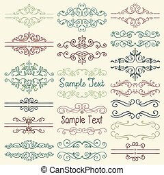 Vector Colorful Hand Drawn Dividers, Frames, Swirls - Set of...