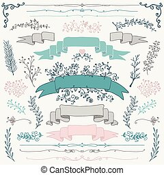 Vector Colorful Hand Drawn Floral Design Elements - Set of...