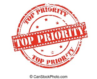 Top priority - Rubber stamp with text top priority inside,...