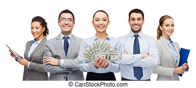 group of business people with dollar cash money - business,...