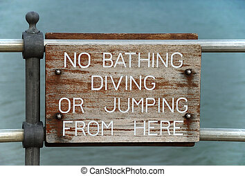 No Bathing, Diving or Jumping Sign
