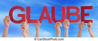 People Straight Word Glaube Mean Belief Blue Sky