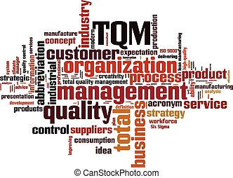 TQM word cloud concept Vector illustration