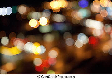 colorful bright lights on dark night background - holidays,...