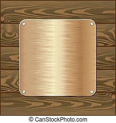 plaque - golden plaque on dark wooden wall