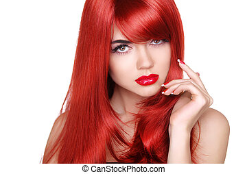 Long red hair. Fashion beautiful girl with makeup, glossy wavy h