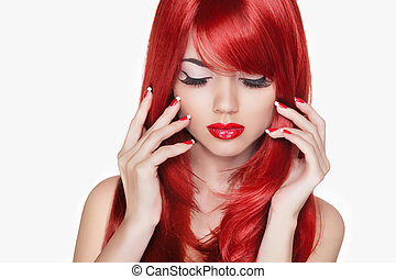 Makeup. Beautiful girl with red long hair. Fashion model isolate