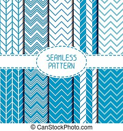 Set of blue fashion geometric seamless pattern with chevron...