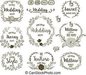 Hand Drawn frames - Hand Drawn floral frames in rustic style...