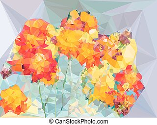 Abstract vivid color polygonal background from cosmos flower shape