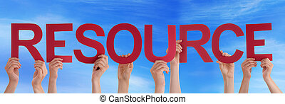 Hands Holding Red Straight Word Resource Blue Sky - Many...