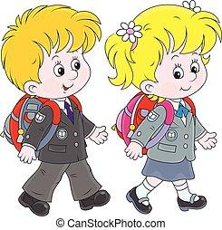 Schoolchildren - Little schoolgirl and schoolboy going with...