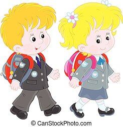 Schoolchildren - Little schoolgirl and schoolboy going with...
