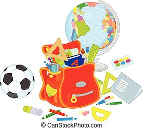 Schoolbag, globe and ball - School supplies with a...