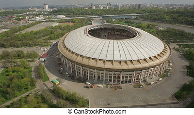 Stadium Luzniki at Moscow, Russia - aerial view HD