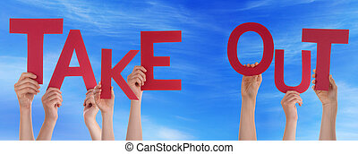 People Hands Holding Red Word Take Out Blue Sky - Many...