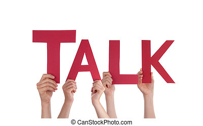 Many People Hands Holding Red Straight Word Talk - Many...