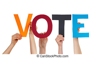 People Hands Holding Colorful Straight Word Vote - Many...