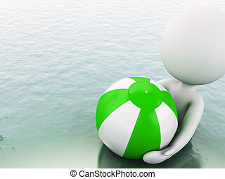 3d white people with beach ball in water. - 3d white people...