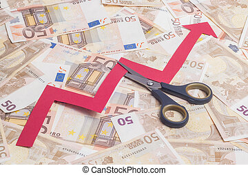 Stop increasing euro value concept. Scissor cutting growing...