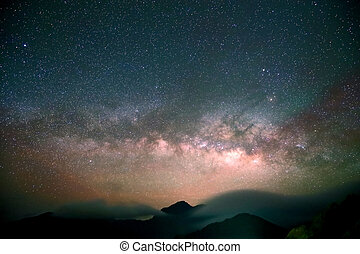Amazing Star Night - night scene milky way background in the...