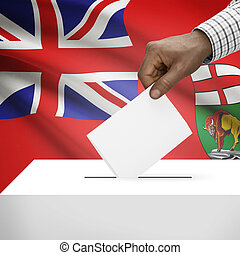 Ballot box with Canadian province flag on background series...