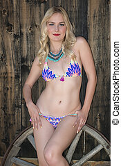 Blonde - Beautiful tall Russian blonde in a colorful bikini