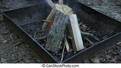 Fire starting on camp site