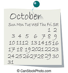 Desktop calendar for 2010 - Calendar for October 2010,...