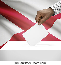 Ballot box with US state flag on background series - Alabama...